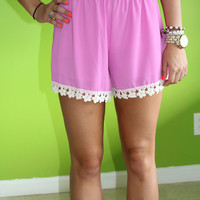 Flower Frenzy Shorts: Orchid