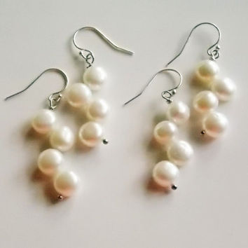 set of 2 freshwater pearl earrings   white pearl earrings  sterling silver earrings  natural pearl earrings set    wedding earrings set