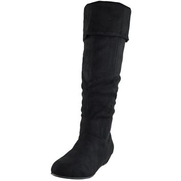 Womens Casual Comfort Cuffed Knee High Flat Boots Black Size 5.5-10