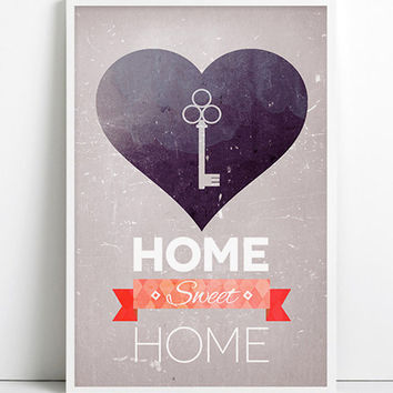 Home Sweet Home Decor Poster Printable Art Inspirational art Rustic Key House warming gift Wall decor LOVE Shabby chic Download Bless Home
