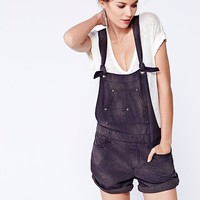 Free People Womens Pinstripe Shortall - Grey / Black Combo,