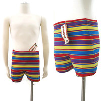 Vintage Mens Swim Shorts Trunks 60s McGregor Knit Striped Stretch S NOS NWT