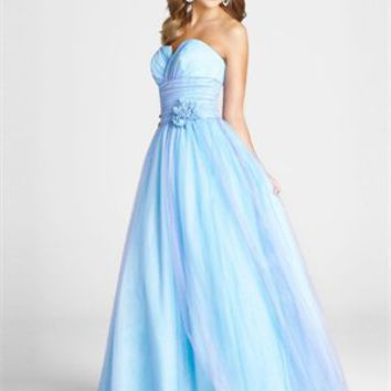 A-line Sweetheart Neckline Belt Floor Length Tulle Homecoming Dress PD1881