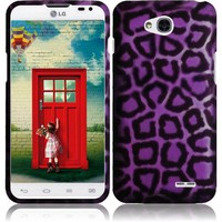 Rubberized Plastic Purple Leopard Hard Cover Snap On Case For LG Optimus L70 (Accessorys4Less)