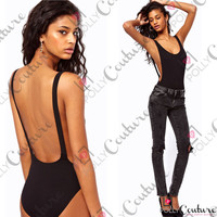 Womens ASOS Backless Black Cut Out Bodysuit Leotard Ladies Party Bralet Body Top