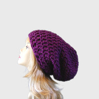 Deep Purple Super Slouchy Crochet Hat Fall by crochetconcepts