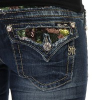 Miss Me Women's Camo Sequin Camouflage Inlay Jeans