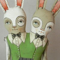 BANJO and BELFRY Conjoined Rabbits by cartbeforethehorse on Etsy