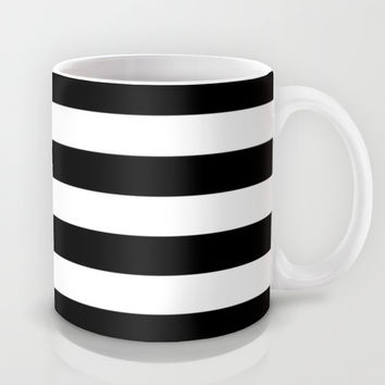 Stripe Black & White Mug by BeautifulHomes | Society6