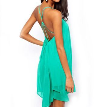 Ftbstyle Sexy Womens Chiffon Backless Sling Strap Back Clubwear Party Mini Dress