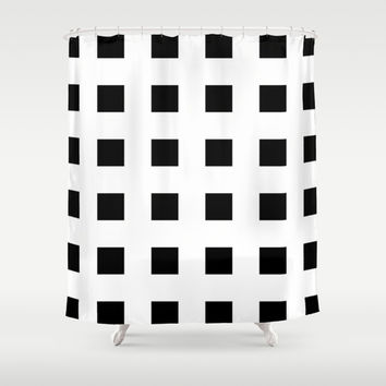 Cross Squares Black & White Shower Curtain by BeautifulHomes | Society6