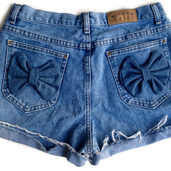 High Waisted Denim Bow Shorts Size 11/12 Shorts Hipster Tumblr