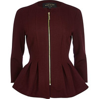 Dark red textured jersey peplum jacket - jackets - coats / jackets - women