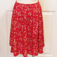 Red Skirt Flower Skirt Vintage Skirt Vintage Clothes Vintage Clothing Womens Skirt Petite Skirt 80s Skirt 90s Skirt Free Clothing Country