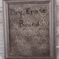 DRY ERASE Board Dark Taupe Gray Grey Damask Shabby Chic Seaside Beach Cottage French Country Rustic Cabin Lodge Western Ranch Man Cave