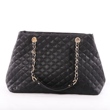 Taylor Oversized Quilted Leather Tote Bag in Black