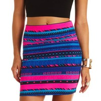 Geometric Tribal Print Bodycon Mini Skirt - Bright Pink