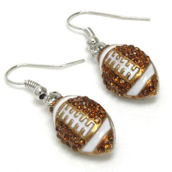 Crystal 'Bling' Dangle Football Hook Earrings