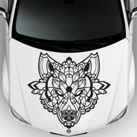 Car Decal Hood Sticker Wall Art Graphics Paint Auto Truck Design Wolf Predator Animal Head Pattern (M1195)