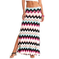 Chevron Print Double Slit Maxi Skirt by Charlotte Russe - Multi