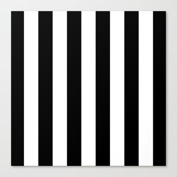 Stripe Black & White Stretched Canvas by BeautifulHomes | Society6