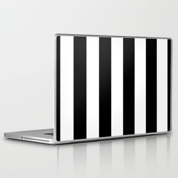 Stripe Black & White Laptop & iPad Skin by BeautifulHomes | Society6