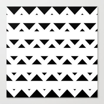 Tribal Triangles Black & White Stretched Canvas by BeautifulHomes | Society6