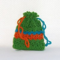 Green Small Crochet Drawstring Bag Bright Colorful Gift Bag Make-Up