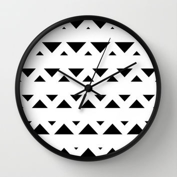 Tribal Triangles Black & White Wall Clock by BeautifulHomes | Society6