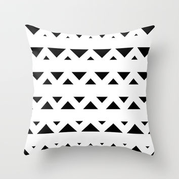 Tribal Triangles Black & White Throw Pillow by BeautifulHomes | Society6