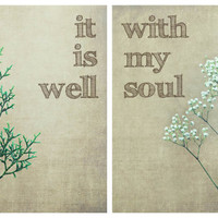 $45.00 It Is Well With My Soul Modern Fresh Neutral Tones by 52homeathome