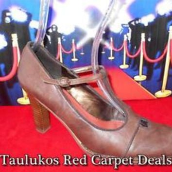Womens shoes NINE WEST Mary Jane High Heel T-Strap Pumps Brown LEATHER sz 8.5 M