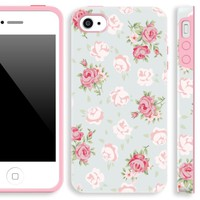 Akna Glamour Series Flexible TPU Soft Flower Back Case for iPhone 4 4S [Young Green]