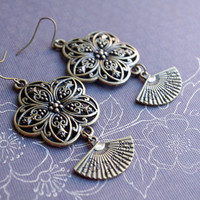 Earrings Bronze dangle Fan earrings Flower earrings ethnic Bohemian earrings, romantic earrings