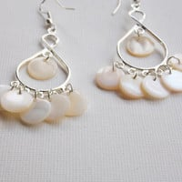 White mother of pearl chandelier earrings,  silver chandelier earrings, gypsy earrings,  wedding earrings
