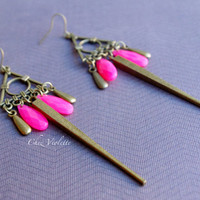 Ethnic Long Earrings Bronze dangle Pink drop beads earrings Inca earrings ethnic Bohemian earrings, romantic earrings