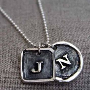 Fine Silver - Double Framed Initial Necklace