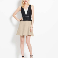 Faux Leather Trim Colorblock Dress