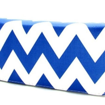 Wallet-Faux Leather Blue Chevron Wallet