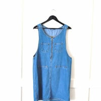 80s denim mini dress / light jean romper small medium