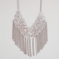 Full Tilt 3 Tier Flower Fringe Necklace Silver One Size For Women 24064514001