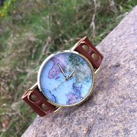 Women's Unisex Fashion World Map Watch Brown Leather Strap Classic Golden Edge
