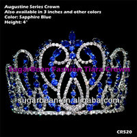 Source 4 Inches Blue Accent Crown Pageant Tiara Head Band Cheap Hair Jewelry CR520 on m.alibaba.com