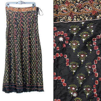 Vintage Handmade Boho // Indian Beaded Emboidered Maxi Skirt // Ethnic Black Multi // Tie Waist // Size XS Extra Small / Small / Medium