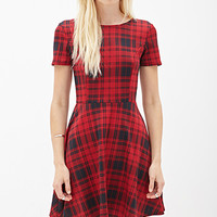 Plaid Scuba Knit Skater Dress