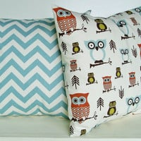 Owl Pillow Covers Chevron Throw Pillows Accent by BlossomPillowCo