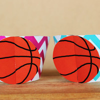 Printable 3D Basketball Sports Party Cupcake Wrapper Set in aqua blue and bright pink chevron INSTANT DOWNLOAD
