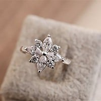MagicPiecies Rhinestone Flower Shape Upper Design Slap-up Ring HDP 0704