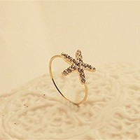 MagicPiecies Starfish Shape Upper Inlay Rhinestones Ring Cute Star Love Ring HDP 0704