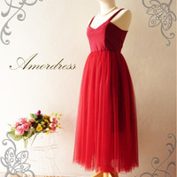 Vintage Inspired Bullet Lady Red Tutu Gown Prom by Amordress